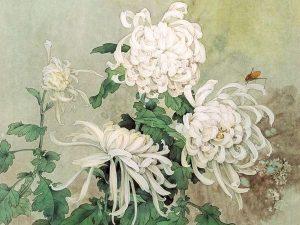 Японские белые хризантемы в живописи